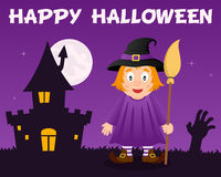 Halloween Cute Witch and Haunted House Royalty Free Stock Photo