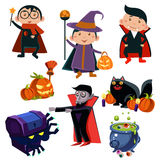Halloween Cute Witches  set Stock Image