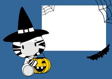Halloween cute zebra baby witch background Royalty Free Stock Photos