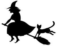 Halloween czarnego kota, księżyc pocztówkowa dyniowa wiedźma Zdjęcia Stock