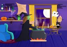 Halloween, czarownica gotuje w jej domu, kostiumowej kreskówce, dyniowym pająku, nietoperzu i kreatywnie, strasznym, wewnętrznym, royalty ilustracja