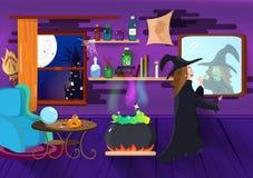 Halloween, czarownicy magia uzupełnia, piękno mody nocy przyjęcia kreskówki kostiumowy pojęcie, pająk, kasztele i izbowy wnętrze, royalty ilustracja