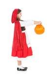 Halloween: Czerwony Jeździecki kapiszon Trzyma Out wiadro obrazy royalty free