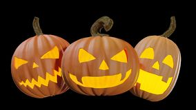 Halloween découpé pumpking à la maison l'illustration de la lanterne 3d de Jack o image stock