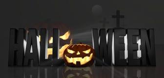 Halloween 3d Halloween geeft pompoenenkruis terug royalty-vrije illustratie