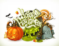 Halloween 3d vector emblem. Set of cartoon characters and objects Royalty Free Stock Photo