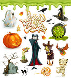 Halloween 3d vector icons. Pumpkin, ghost, spider, witch, vampire, candy corn. Set of cartoon characters and objects. Greetings text Happy Halloween for Royalty Free Stock Image
