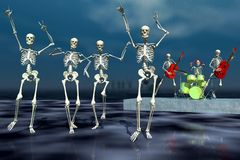 Halloween dance. Scene of the holiday skeleton  executed in 3 D Royalty Free Stock Photos
