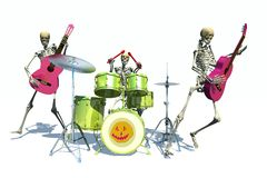 Halloween dance. Scene of the holiday skeleton  executed in 3 D Royalty Free Stock Photo