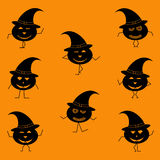 Halloween dancing pumpkins with legs and hands in witch hats. Halloween dancing pumpkins with legs and hands- silhouette vector illustration Stock Photography