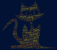 Halloween dark backgroun:a cat made from scary words Royalty Free Stock Photography