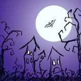 Halloween dark blue background with spooky naked trees, moon, bat and old house. Crayon, chalk pastel or pencil hand drawn simply grunge horror vector Royalty Free Stock Photo