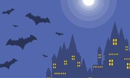 Halloween dark castle at night landscape Stock Photos