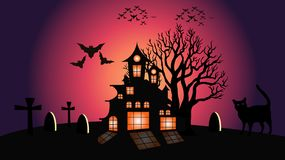 Halloween moon and cat vector illustration stock illustration