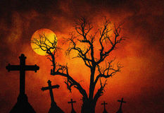 Halloween dark grunge grain concept background with scary dead tree and spooky silhouette crosses and full mo Stock Image