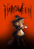 Halloween dark illustration with a pretty witch Royalty Free Stock Photography