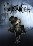 Halloween dark illustration with skeleton figure Stock Photos
