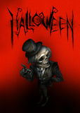 Halloween dark illustration with skeleton Stock Photos