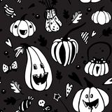 Halloween dark seamless vector pattern with white pumpkins. royalty free illustration