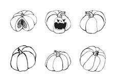 Halloween dat met pompoenen wordt geplaatst royalty-vrije illustratie