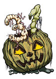 Halloween 31 date consist of rotten pumpkin and worms. Illustration halloween pumpkin with two monster's figures like number '31 Stock Photo