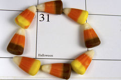 Halloween Day Circled with Candy Corn Stock Photo