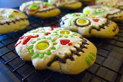 Halloween Day of the Dead iced cookies Stock Photos