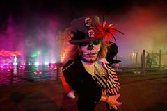 Halloween Day of The Dead party in Netherlands Stock Image