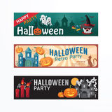 Halloween Day Party Banner Template Design. Stock Images