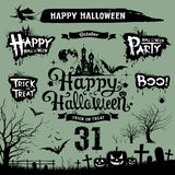 Halloween day silhouette white and black collections Royalty Free Stock Photos