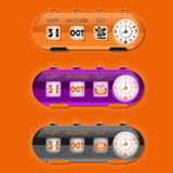 Halloween day with table flap clocks and number counter Stock Images
