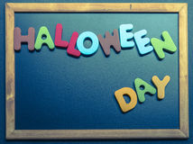 Halloween day wooden word on black board Stock Photography