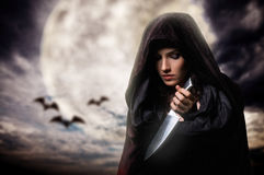 Halloween day. Young beautiful witch. Halloween day Royalty Free Stock Photos