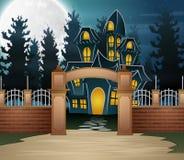 Halloween-de achtergrond met eng huis en de volle maan in nightHalloween achtergrond met eng huis en volle maan in de nacht stock illustratie