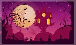 Halloween-de Achtergrond van de maanpartij Stock Foto