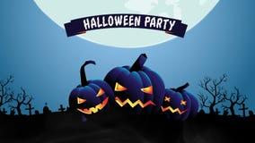 Halloween-de achtergrond van de het landschapsanimatie van de nachtpartij vector illustratie