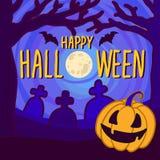 Halloween-de achtergrond van het volle maanconcept, hand getrokken stijl stock illustratie