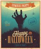 Halloween-de Affiche van de Zombiepartij. Stock Afbeelding