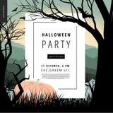 Halloween-de affiche van het Partijbericht Stock Foto