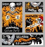 Halloween-de affiche van de verschrikkingsschedel, het ontwerp van de nachtpartij stock illustratie