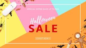 Halloween-de banner van het verkoopweb met traktaties Stock Afbeeldingen