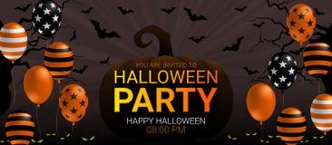 Halloween-de banner van de Partijuitnodiging met eng de vieringsconcept van ballonhalloween royalty-vrije illustratie