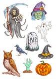 Halloween-de geschetste elementen van de Deeluitnodiging kaart vector illustratie