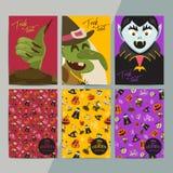 Halloween-de groetkaarten van het partijbeeldverhaal Allen zegenen vooravondinvitatio stock illustratie