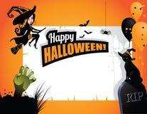 Halloween-de handballons van de achtergrondheksenkat Stock Foto