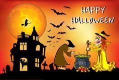 Halloween-de heksen brouwen dat drankje Stock Foto's