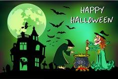 Halloween-de heksen brouwen dat drankje, affiche, kleurrijke illustratie Stock Afbeeldingen