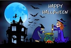 Halloween-de heksen brouwen dat drankje, affiche, kleurrijke illustratie Stock Afbeelding