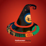Halloween-de hoedenillustratie van de Partijheks voor kaart/affiche Stock Foto