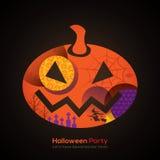 Halloween-de Illustratie van de Partijpompoen voor kaart/affiche Royalty-vrije Stock Fotografie